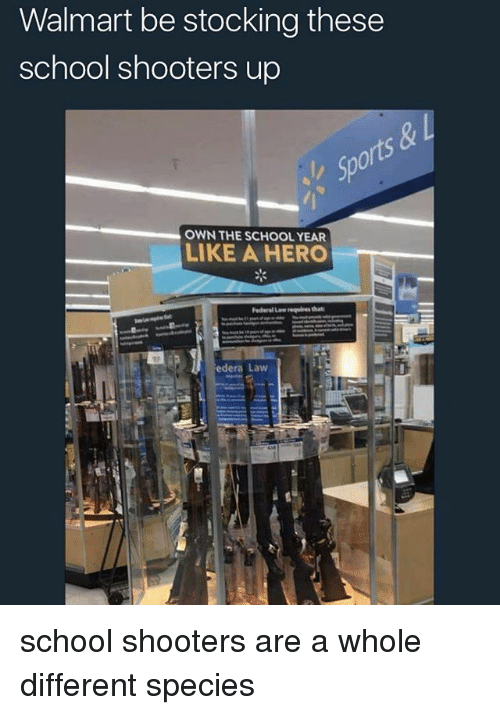 School Shooters: Walmart be stocking these  school shooters up  OWN THE SCHOOL YEAR  LIKE A HERO  edera Law school shooters are a whole different species