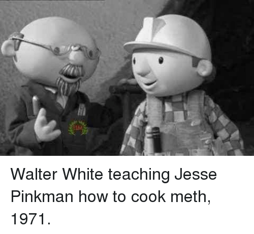 Walter White, How To, and White: Walter White teaching Jesse Pinkman how to cook meth, 1971.