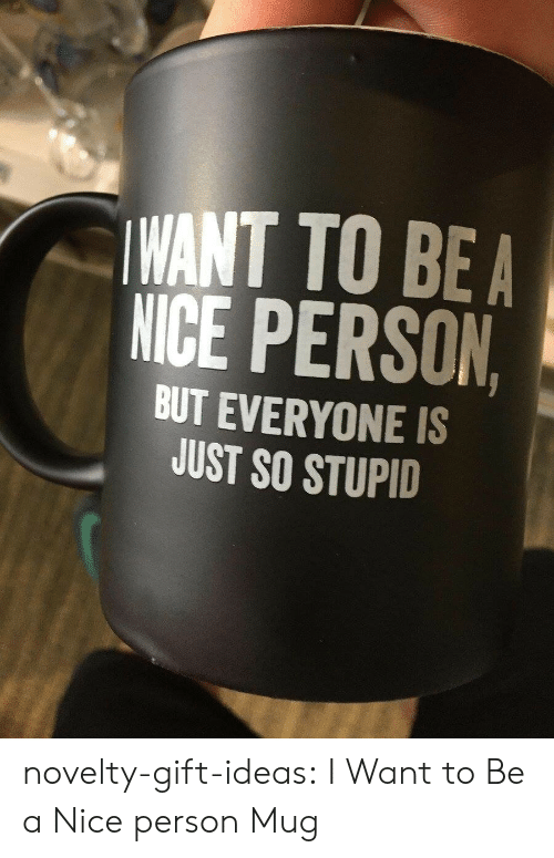 bea: WANT TO BEA  NICE PERSON  BUT EVERYONE IS  JUST SO STUPID novelty-gift-ideas:  I Want to Be a Nice person Mug