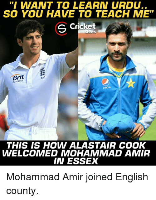 """essex: """" WANT TO LEARN URDU..  SO YOU HAVE TO TEACH ME  S Cricket  Shots  Brit  Insurance  THIS IS HOW ALASTAIR COOK  WELCOMED MOHAMMAD AMIR  IN ESSEX Mohammad Amir joined English county."""