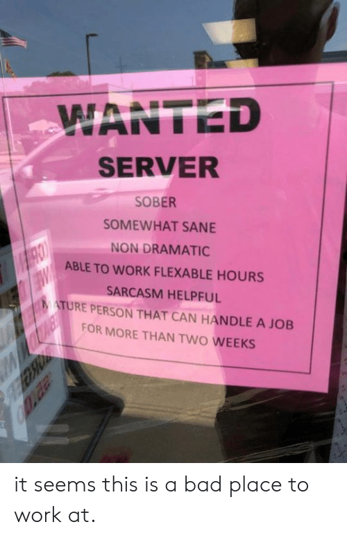 Bad, Dank, and Work: WANTED  SERVER  SOBER  SOMEWHAT SANE  NON DRAMATIC  ABLE TO WORK FLEXABLE HOURS  SARCASM HELPFUL  MATURE PERSON THAT CAN HANDLE A JOB  FOR MORE THAN TWO WEEKS it seems this is a bad place to work at.