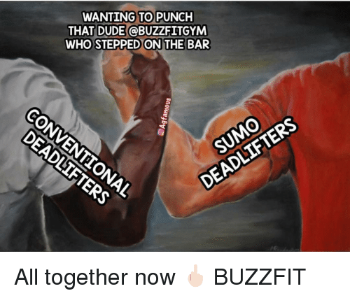 Dude, Memes, and 🤖: WANTING TO PUNCH  THAT DUDE @BUZZFITGYM  WHO STEPPED ON THE BAR  SUMO  DEADLIF All together now 🖕🏻 BUZZFIT