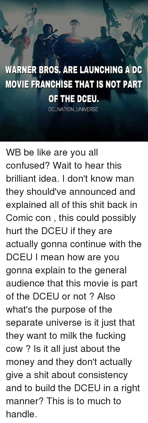 Cowe: WARNER BROS, ARE LAUNCHING A DC  MOVIE FRANCHISE THAT IS NOT PART  OF THE DCEU.  DC NATION UNIVERSE WB be like are you all confused? Wait to hear this brilliant idea. I don't know man they should've announced and explained all of this shit back in Comic con , this could possibly hurt the DCEU if they are actually gonna continue with the DCEU I mean how are you gonna explain to the general audience that this movie is part of the DCEU or not ? Also what's the purpose of the separate universe is it just that they want to milk the fucking cow ? Is it all just about the money and they don't actually give a shit about consistency and to build the DCEU in a right manner? This is to much to handle.