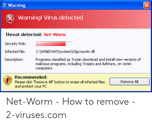 Warning Warning! Virus Detected Threat Detected Net-Worm Security