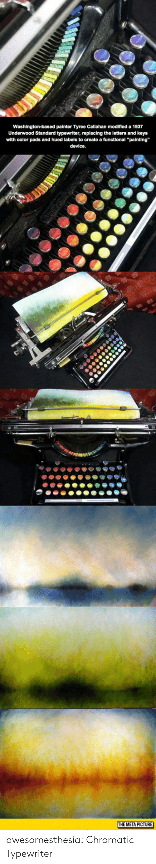 """Tumblr, Blog, and Create A: Washington-based painter Tyree Callahan modifled a 1937  Underwood Standard typewriter, replacing the letters and keys  with color pads and hued labels to create a functional """"painting""""  device.  THE META PICTURE awesomesthesia:  Chromatic Typewriter"""