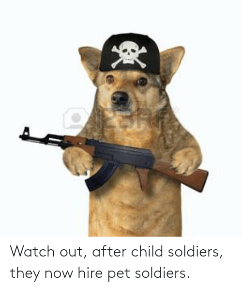 hire: Watch out, after child soldiers, they now hire pet soldiers.