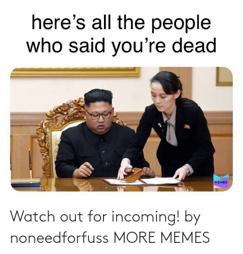 Incoming: Watch out for incoming! by noneedforfuss MORE MEMES