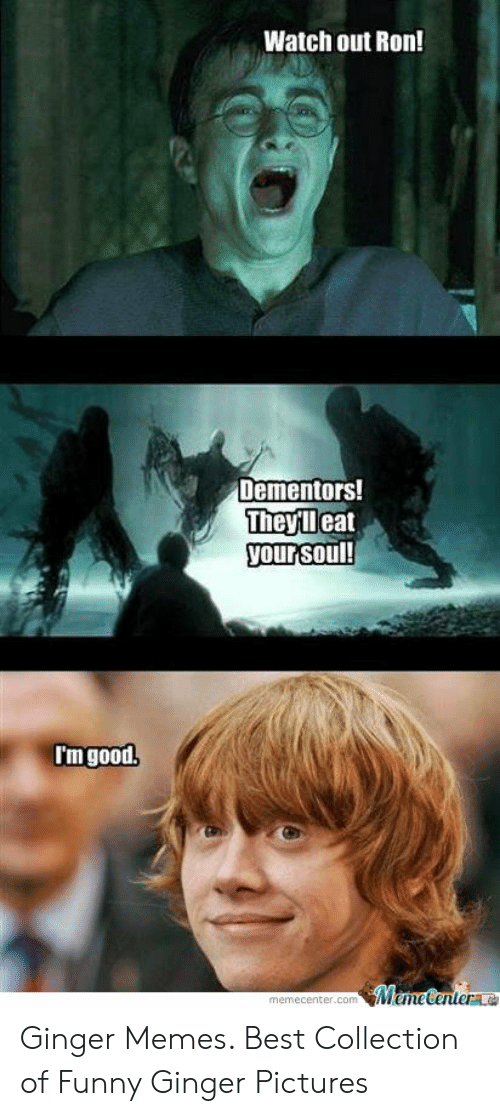 Ginger Pictures: Watch out Ron!  Dementors!  Theyleat  your soul!  I'm good.  MemeCentere  memecenter.com Ginger Memes. Best Collection of Funny Ginger Pictures