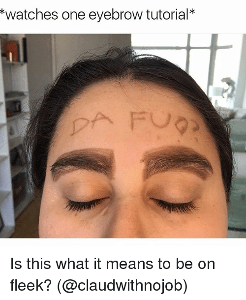 Girl Memes, Eyebrows, and Fleek: watches one eyebrow tutorial Is this what it means to be on fleek? (@claudwithnojob)