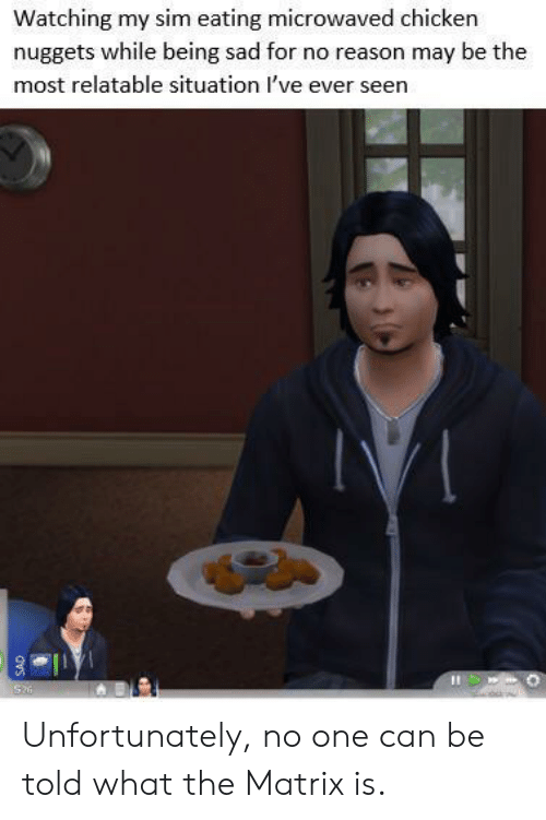 sim: Watching my sim eating microwaved chicken  nuggets while being sad for no reason may be the  most relatable situation I've ever seen  Si  dvs Unfortunately, no one can be told what the Matrix is.