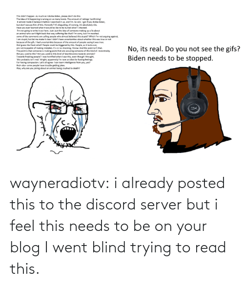 Trying: wayneradiotv: i already posted this to the discord server but i feel this needs to be on your blog   I went blind trying to read this.