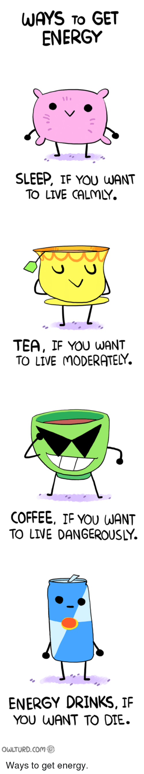 live dangerously: WAYS To GET  ENERGY  SLEEP, IF YOU WANT  TO LIVE CALMLY.  TEA, IF YOU WANT  TO LIVE mODERATELY.  COFFEE, IF YOU WANT  TO LIVE DANGEROUSLY.  ENERGY DRINKS, IF  YOU WANT TO DIE.  owLTURD.com Ways to get energy.