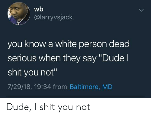 """Dude, Shit, and Baltimore: wb  @larryvsjack  you know a white person dead  serious when they say """"Dudel  shit you not""""  7/29/18, 19:34 from Baltimore, MD Dude, I shit you not"""