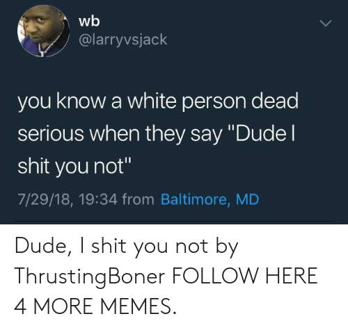 """Dank, Dude, and Memes: wb  @larryvsjack  you know a white person dead  serious when they say """"Dudel  shit you not""""  7/29/18, 19:34 from Baltimore, MD Dude, I shit you not by ThrustingBoner FOLLOW HERE 4 MORE MEMES."""