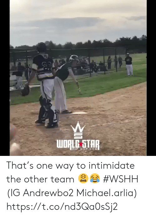 Wshh, Michael, and Star: WDALG STAR  HLP HoP.COM That's one way to intimidate the other team 😩😂 #WSHH (IG Andrewbo2 Michael.arlia) https://t.co/nd3Qa0sSj2