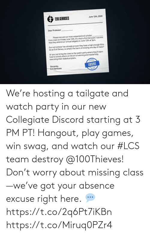 play: We're hosting a tailgate and watch party in our new Collegiate Discord starting at 3 PM PT! Hangout, play games, win swag, and watch our #LCS team destroy @100Thieves!  Don't worry about missing class—we've got your absence excuse right here.  💬 https://t.co/2q6Pt7iKBn https://t.co/Miruq0PZr4