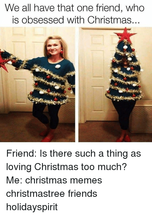We All Have That One Friend: We all have that one friend, who  is obsessed with Christmas.. Friend: Is there such a thing as loving Christmas too much? Me: christmas memes christmastree friends holidayspirit