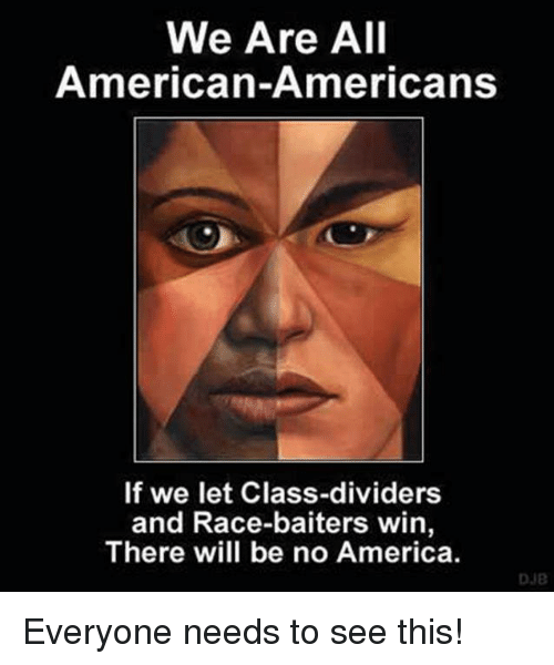 America, Memes, and American: We Are All  American-Americans  If we let Class-dividers  and Race-baiters win  There will be no America  DJB Everyone needs to see this!