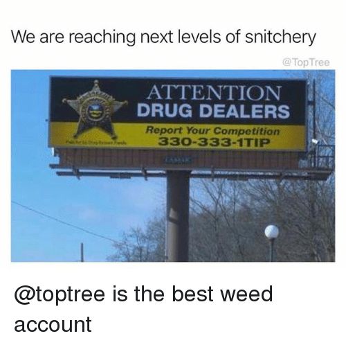 Weed, Best, and Drug: We are reaching next levels of snitchery  @TopTree  ATTENTION  DRUG DEALERS  Report Your Competition  330-333-1TIP  lan @toptree is the best weed account