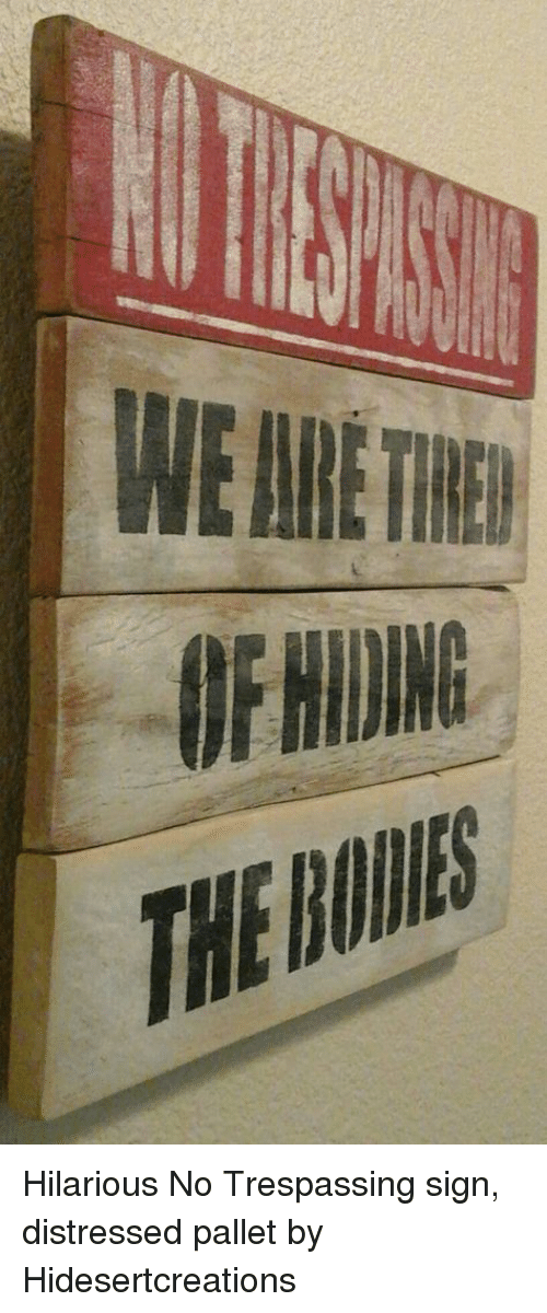 pallet: WE ARE THE  F NIDING  THE Hilarious No Trespassing sign, distressed pallet by Hidesertcreations