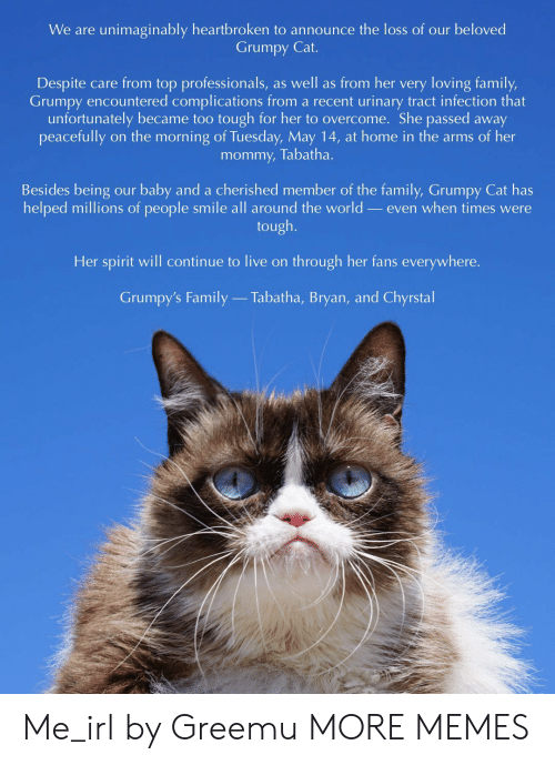 Urinary Tract Infection: We are unimaginably heartbroken to announce the loss of our beloved  Grumpy Cat.  Despite care from top professionals, as well as from her very loving family,  Grumpy encountered complications from a recent urinary tract infection that  unfortunately became too tough for her to overcome. She passed away  mommy, Tabatha.  Besides being our baby and a cherished member of the family, Grumpy Cat has  helped millions of people smile all around the world _even when times were  tough.  Her spirit will continue to live on through her fans everywhere.  Grumpy's Family  Tabatha, Bryan, and Chyrstal Me_irl by Greemu MORE MEMES