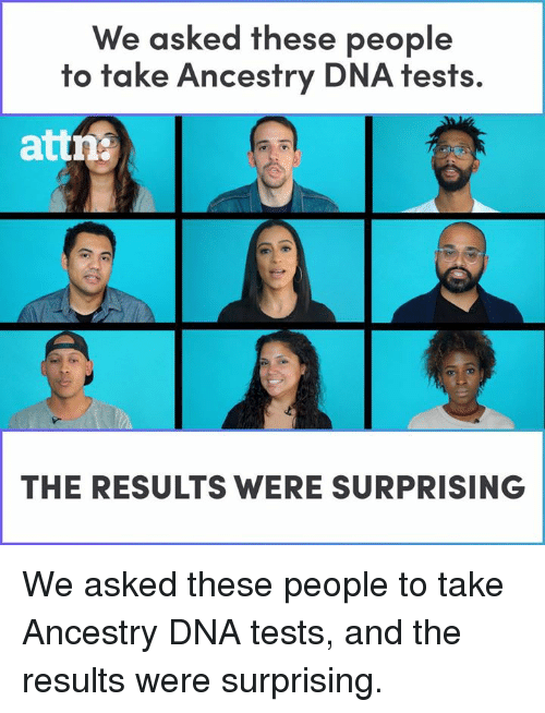Memes, Ancestry, and 🤖: We asked these people  to take Ancestry DNA tests.  attn  THE RESULTS WERE SURPRISING We asked these people to take Ancestry DNA tests, and the results were surprising.