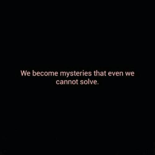 That, Cannot, and Mysteries: We become mysteries that even we  cannot solve.