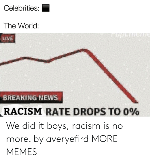 Did It: We did it boys, racism is no more. by averyefird MORE MEMES