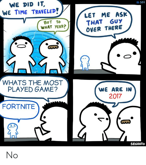 Funny, Game, and Time: WE DID IT  WE TIME TRAVE LED!  #101  LET ME ASK  THAT GUY  OVER THERE  BUT TO  WHAT YEAR?  WHATS THE MOST  PLAYED GAME?  WE ARE IN  2017  FORTNITE  SRGRAFO No