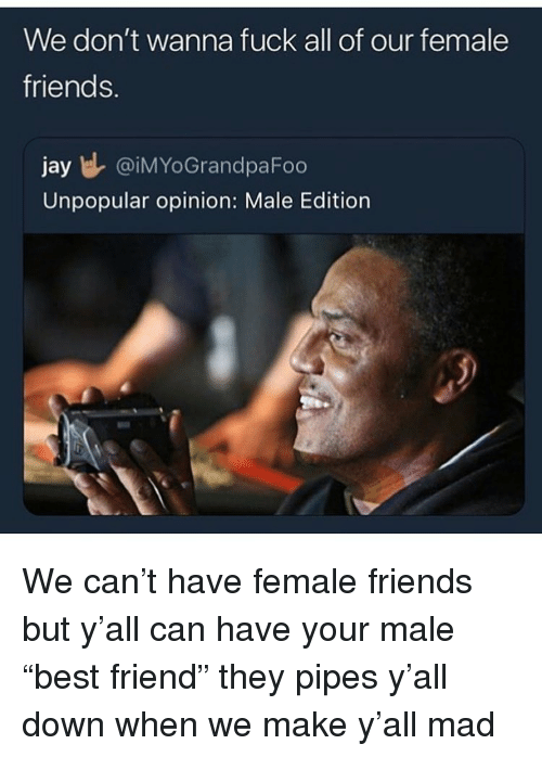 "Friends, Funny, and Jay: We don't wanna fuck all of our female  friends.  jay l @iMYoGrandpaFoo  Unpopular opinion: Male Edition We can't have female friends but y'all can have your male ""best friend"" they pipes y'all down when we make y'all mad"