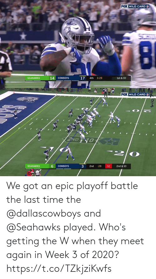 battle: We got an epic playoff battle the last time the @dallascowboys and @Seahawks played.  Who's getting the W when they meet again in Week 3 of 2020? https://t.co/TZkjziKwfs