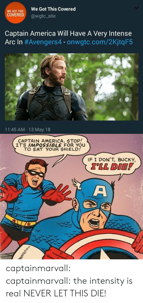 America, Tumblr, and Blog: WE GOT THIS  COVERED  We Got This Covered  @wgtc_site  Captain America Will Have A Very Intense  Arc In #Avengers4-onwate.com/2KjtqF5  11:45 AM 13 May 18   CAPTAIN AMERICA, STOP!  IT'S IMPOSsiBLE FOR YOU  TO EAT YOUR SHIELD  IF I DON'T, BUCKY  TLL DIE! captainmarvall:  captainmarvall:  the intensity is real  NEVER LET THIS DIE!