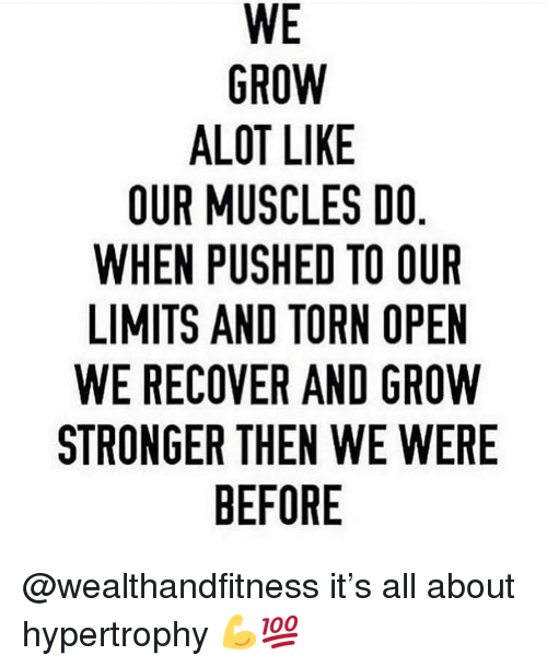 Gym, Torn, and Grow: WE  GROW  ALOT LIKE  OUR MUSCLES DO  WHEN PUSHED TO OUIR  LIMITS AND TORN OPEN  WE RECOVER AND GROW  STRONGER THEN WE WERE  BEFORE @wealthandfitness it's all about hypertrophy 💪💯