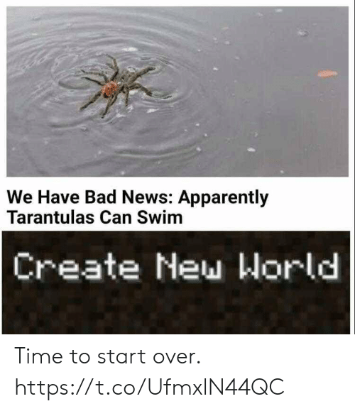 Apparently, Bad, and News: We Have Bad News: Apparently  Tarantulas Can Swim  Create New World Time to start over. https://t.co/UfmxlN44QC
