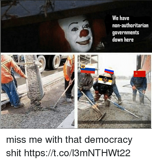 authoritarian: We have  non-authoritarian  governments  down here miss me with that democracy shit https://t.co/l3mNTHWt22