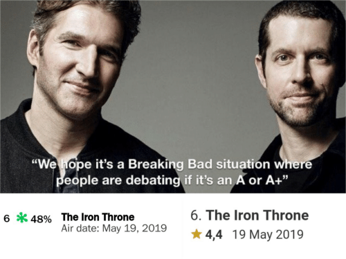 """Breaking Bad: """"We hope it's a Breaking Bad situatión where  eople are debating if it's an A or A+""""  6. The Iron Throne  6*48% The Iron Throne  Air date: May 19, 2019  4,4 19 May 2019"""