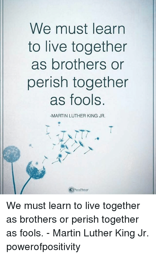 living together: We must learn  to live together  as brothers or  perish together  as fools.  -MARTIN LUTHER KING JR. We must learn to live together as brothers or perish together as fools. - Martin Luther King Jr. powerofpositivity