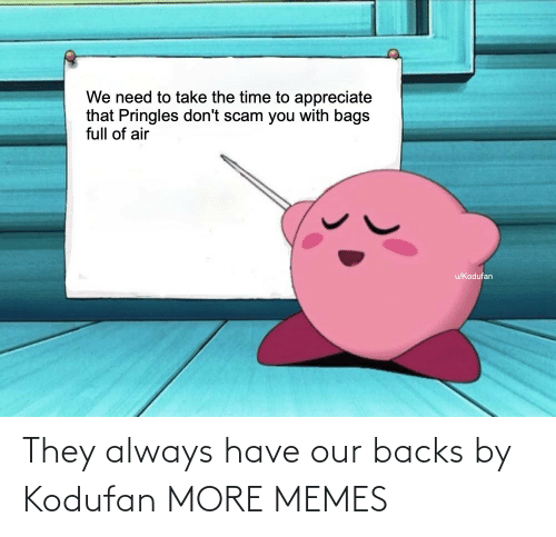 Appreciate: We need to take the time to appreciate  that Pringles don't scam you with bags  full of air  u/Kodufan They always have our backs by Kodufan MORE MEMES