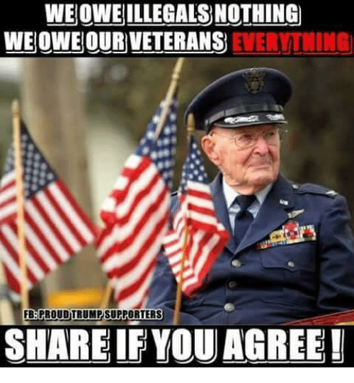 Memes, 🤖, and You: WE OWE ILLEGALS NOTHING  WEOWE OUR VETERANS  EVERYTNING  SHARE IF YOU AGREE