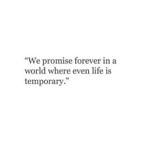 "Life, Forever, and World: ""We promise forever in a  world where even life is  temporary."