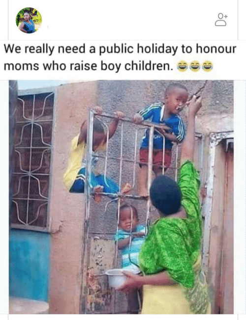 boy: We really need a public holiday to honour  moms who raise boy children. se