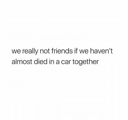 Friends, Car, and Really: we really not friends if we haven't  almost died in a car together