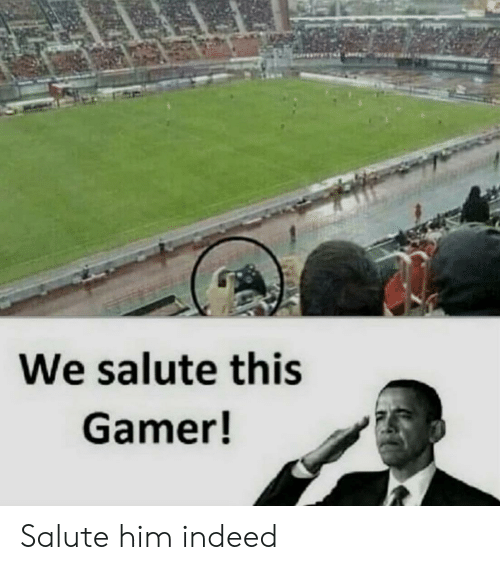Salute: We salute this  Gamer! Salute him indeed