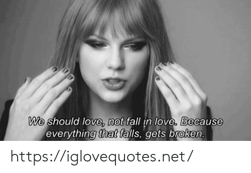 Fall, Love, and Net: We should love, not fall in love, Because  everything that falls, gets broken. https://iglovequotes.net/