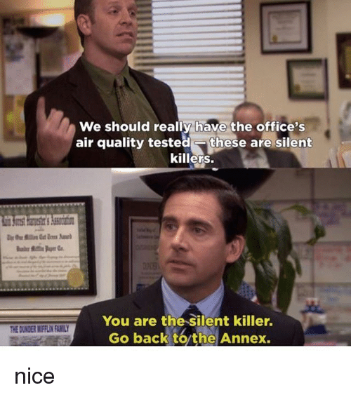 Family, Memes, and Nice: We should really have the office's  air quality tested- these are silent  killers.  You are the Silent killer.  Go back to the Annex  HE DUNDER MIFFLIN FAMILY nice