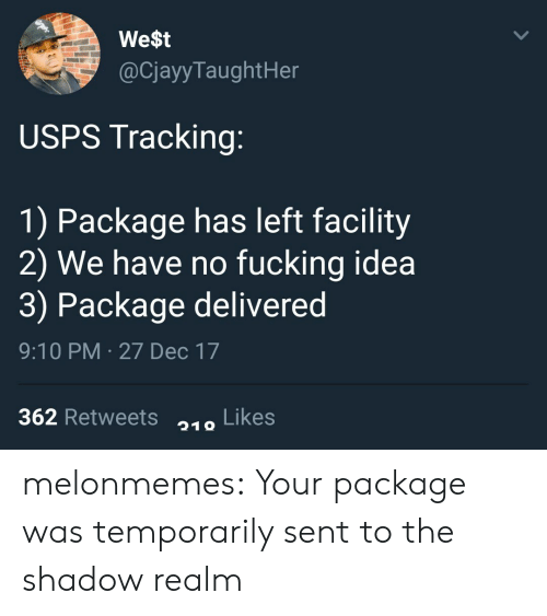 The Shadow Realm: We$t  @CjayyTaughtHer  USPS Tracking:  1) Package has left facility  2) We have no fucking idea  3) Package delivered  9:10 PM 27 Dec 17  362 Retweets Likes  219 melonmemes:  Your package was temporarily sent to the shadow realm