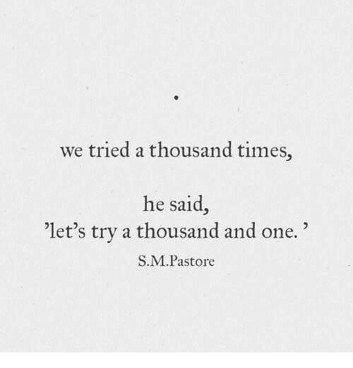 """We Tried: we tried a thousand times,  he said,  'let's try a thousand and one.""""  S.M.Pastore"""