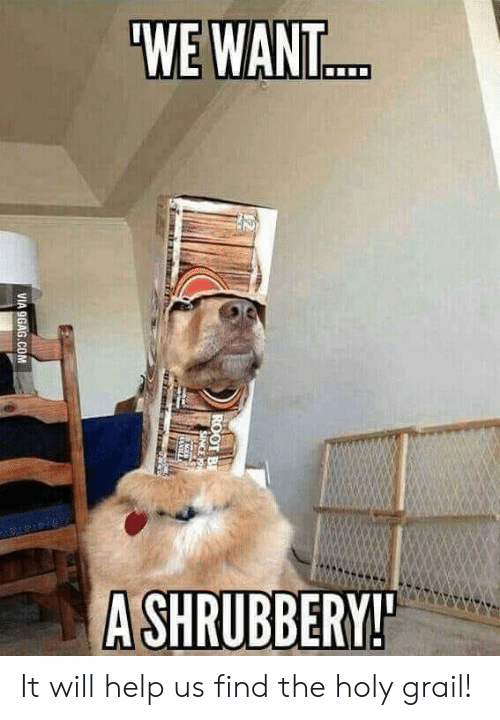 9gag, Help, and Holy Grail: WE WANT..  A SHRUBBERY!  ROOT B  SINCE 19  emi ar  VIA 9GAG.COM It will help us find the holy grail!