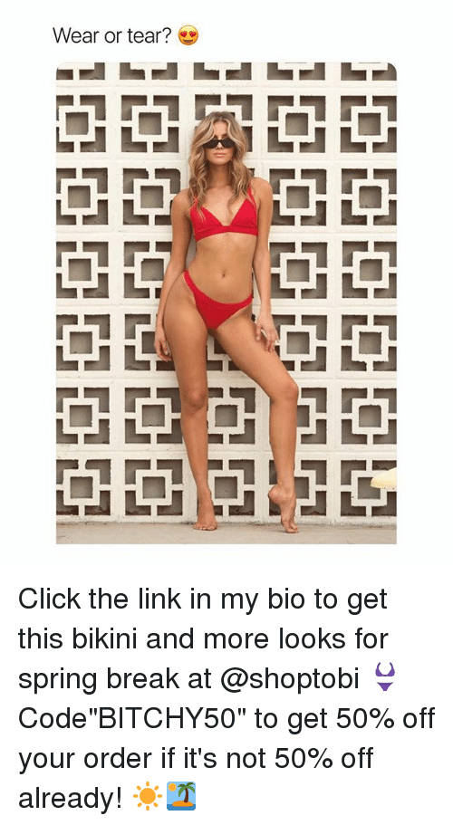 """Click, Spring Break, and Bikini: Wear or tear? Click the link in my bio to get this bikini and more looks for spring break at @shoptobi 👙 Code""""BITCHY50"""" to get 50% off your order if it's not 50% off already! ☀️🏝"""