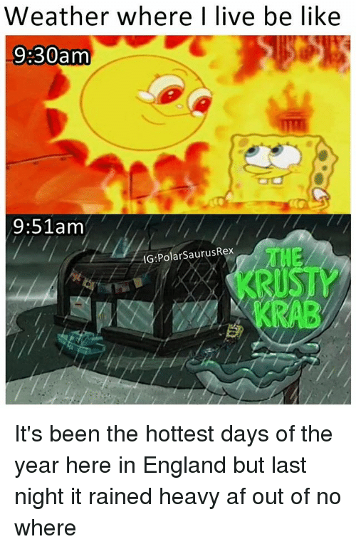 polarized: Weather where I live be like  9:30am  9:51 am  IG Polar SaurusRex It's been the hottest days of the year here in England but last night it rained heavy af out of no where